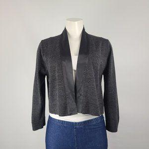 Calvin Klein Grey Satin Trim Knit Cardigan Size XL